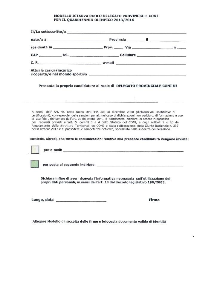 dichiarazione sostitutiva coni
